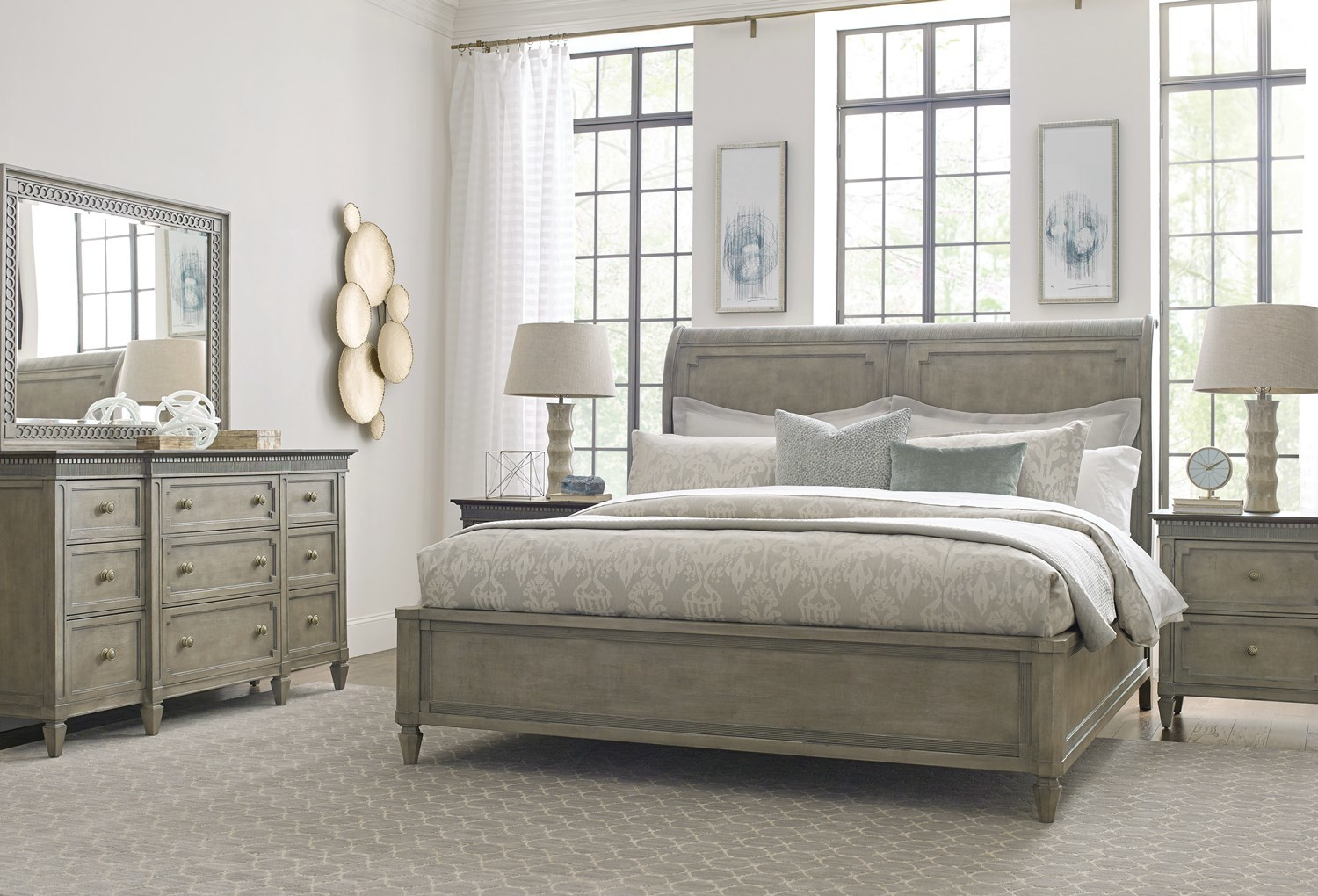 Introducing Savona - a French gray bedroom and dining room furniture collection from American Drew